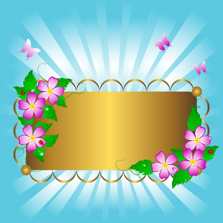 Golden banner with beautiful flowers and butterflies. Vector. Stock Vector - 16901485