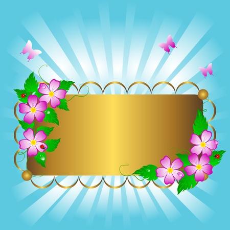 Golden banner with beautiful flowers and butterflies. Vector. Stock Vector - 16901485