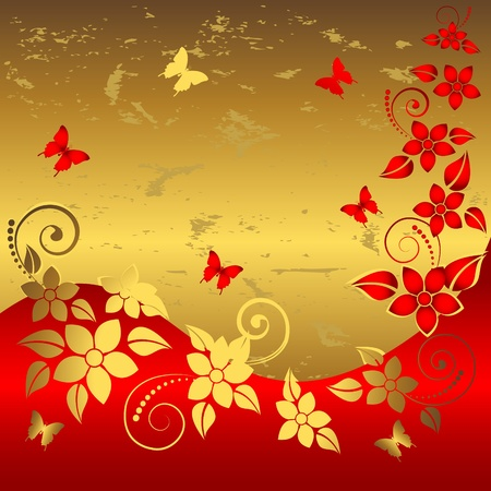 Grunge floral background with butterflies. Vector. Stock Vector - 16901479