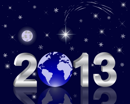 3d 2013 New Year with a globe against the night sky with a star of Bethlehem. illustration. Stock Vector - 16952547