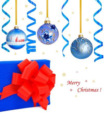Christmas gift box, balls and streamer  Stock Photo - 16986506
