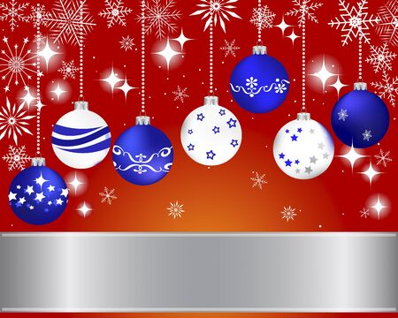 Christmas and new year banner with Christmas ball and snowflakes. illustration. Stock Vector - 16986494
