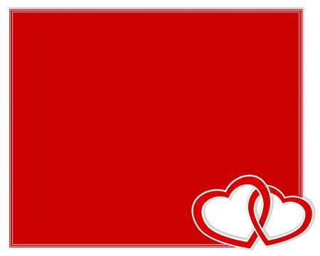 Valentines day card with two paper hearts entwined. illustration. Vector