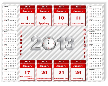Calendar 2013 with holiday calendar icon for january. The American style. 10EPS. Vector. Vector