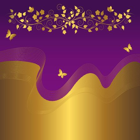Floral background with golden banner. Vector. Vector