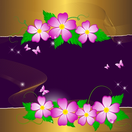 Floral background with butterflies. Vector. Vector
