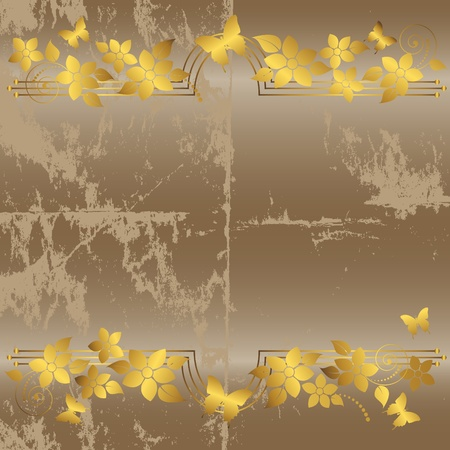 Grunge floral background with butterflies.  Vector