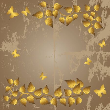 Grunge background with golden leaves and butterflies.  Vector