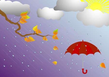 autumn landscape and umbrella   Stock Vector - 17213910
