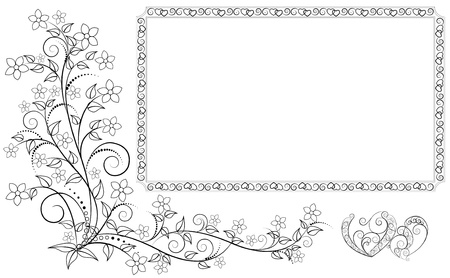 frame, two openwork hearts and flower ornament. Vector