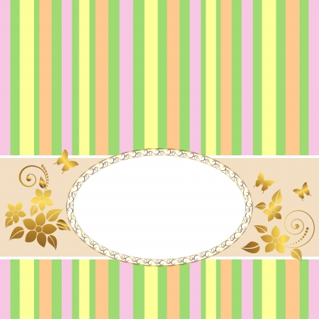gratulation: Golden vintage frame design for greeting card with floral and butterflies.