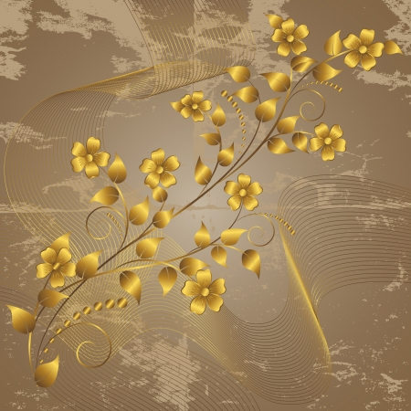 Gold flowers on a grunge background.  Vector