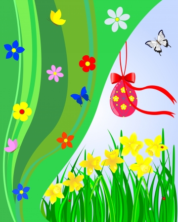 Easter card. Red egg with bow and ribbon, daffodils with grass and drops, butterflies. Vector