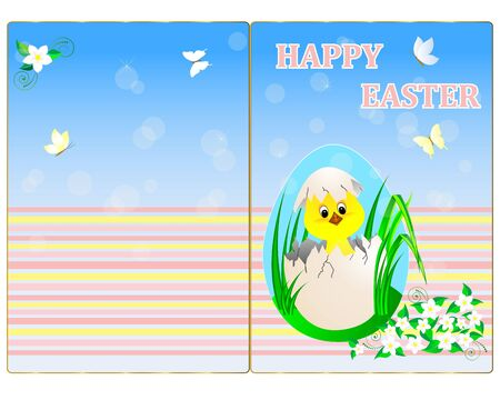 Easter greeting card with chicken and flowers.  Vector
