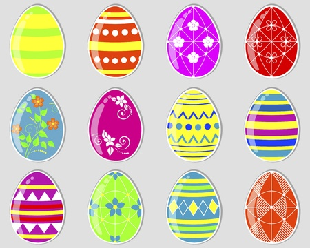 Set of cute easter eggs stickers.  Stock Vector - 17233119