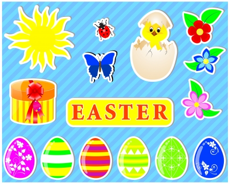 Set of cute Easter stickers on a striped background.  Vector