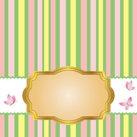 gratulation: Golden vintage frame design for greeting card and butterflies.