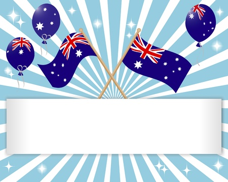 australian flag: Australia Day. Festive banner with flags and balloons.