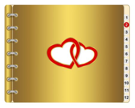 Icon calendar or wedding album with two entwined hearts.  Vector