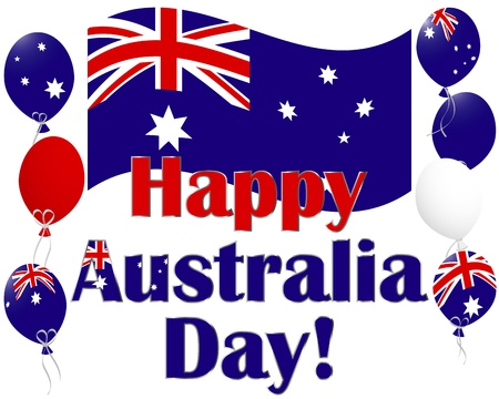Australia Day background with flags and Australia flag balloons. Vector illustration. Illustration