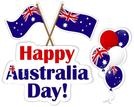 Australia Day stickers; flags and balloons. 10 EPS. Vector illustration.