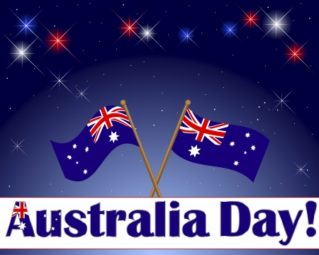 australia day: Australia Day. Celebratory background with a banner, fireworks and flags. Vector illustration.