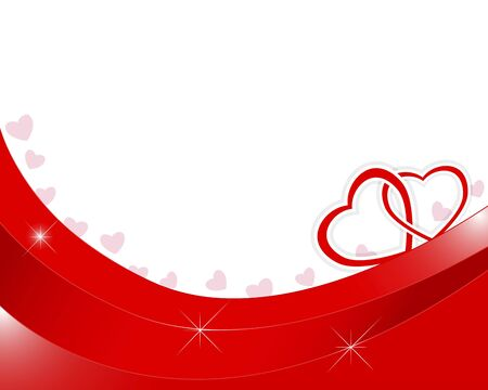 entwined: Valentines day background with two paper hearts entwined. Illustration