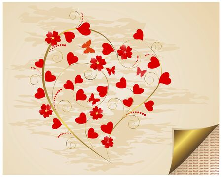 Valentines Day. Grungy background with curled corner and floral heart. Vector
