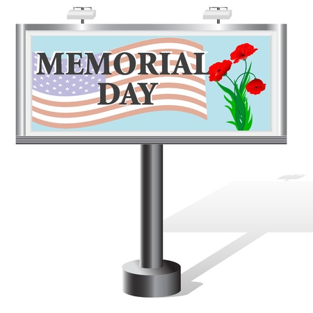 Memorial Day  Billboard isolated on white  Vector