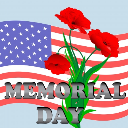 An illustration for Memorial Day with the American flag and poppies Vector