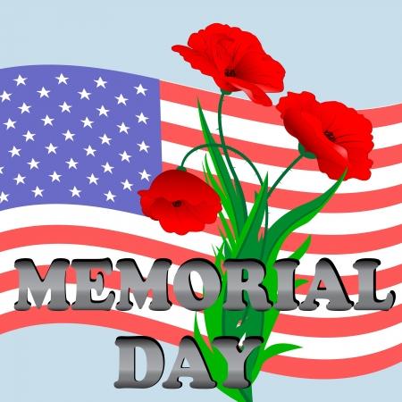 recordar: Una ilustraci�n para el D�a de los Ca�dos con la bandera americana y amapola Vectores