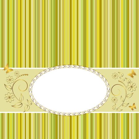 gratulation: Golden vintage frame design for greeting card with floral and butterflies Illustration
