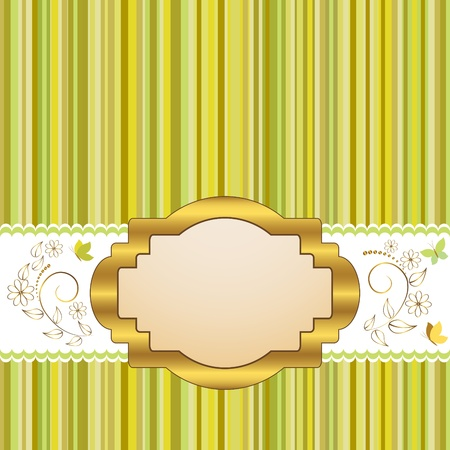 Golden vintage frame design for greeting card with floral and butterflies  Vector  Vector