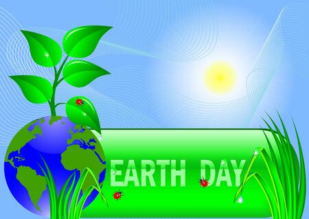 Planet symbol on Earth Day. Vector