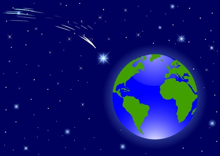 sea view: Planet Earth in the night sky Illustration