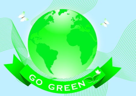 Go green concept with globe and banner. Vector