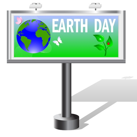 world earth day: Billboard with planet symbol on Earth Day. Illustration