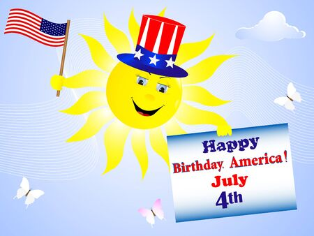 american butterflies: Independence Day. The smiling sun with the American flag and a greeting card.