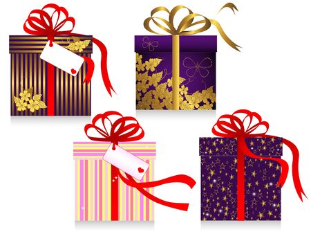 Set of gifts with a bow isolated on the white. Vector