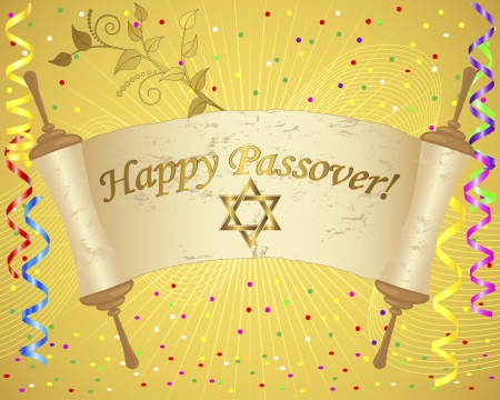 Passover. Torah scroll and Star of David on a holiday background with vertical ribbons and confetti.