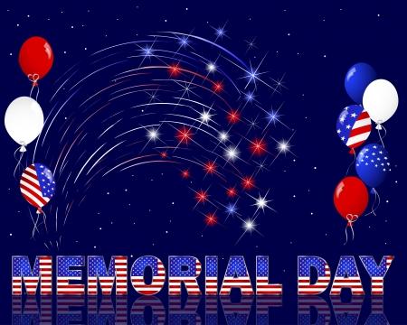 dia y noche: Memorial Day. Celebraci�n de fondo con un hermoso texto, fuegos artificiales y globos.