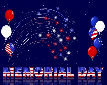 night and day: Memorial Day. Celebratory background with a beautiful text, fireworks and balloons. Illustration