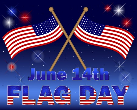 Flag Day. Celebratory background with a beautiful text and fireworks. Stock Vector - 17533512