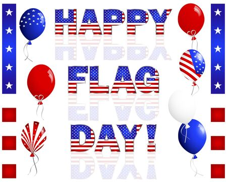 Happy Flag Day. Text and balloons with the American flag pattern on white. Stock Vector - 17533548