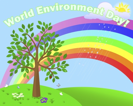 World Environment Day. Cute tree in the background of the summer landscape with rainbow. Stock Vector - 17533539