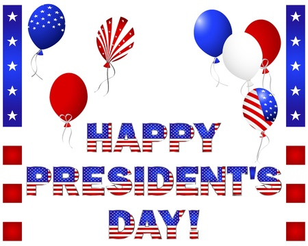 presidents day: Presidents Day. Beautiful text and balloons with the pattern of the American flag on white.