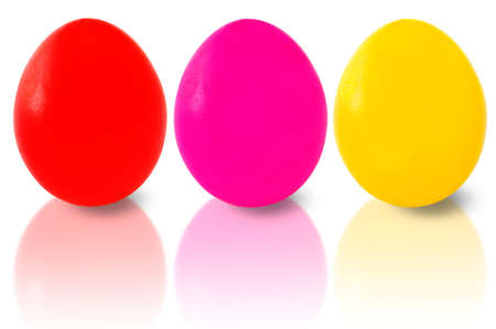 three wishes: Three easter eggs isolated on white  Stock Photo