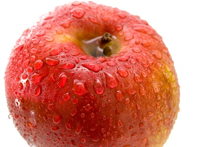 Beautiful close up red apple with drops. Stock Photo