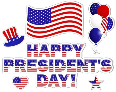 President's Day stickers with a beautiful text; hat; flag and balloons. Vector illustration.