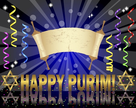 purim: Torah scroll and Star of David on a festive background with curling ribbons and confetti. 10eps Vector illustration.